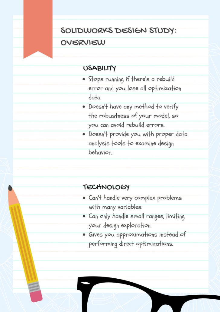 solidworks design study overview list